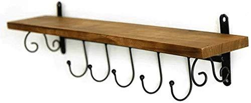 Garderoberek, garderoberek, wandmontage, hakenrek van bamboehout met 5 metalen haken en bovenste rek voor opslag