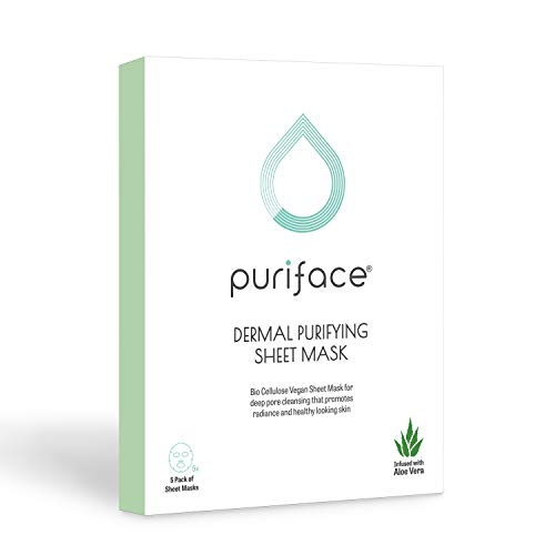 Puriface Dermal Purifying - K Beauty Skin Care Algae Facial Sheet Mask for Deep Pore Cleansing, Anti-Aging and Antioxidant with Natural Ingredients Aloe Vera, Eucalyptus, and Spirulina - 5 Pack
