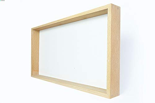 Demiriola' Tiefe-r 3D BILDERRAHMEN | 50 x 25 x 5 cm | Holz/KS-Glas, Buche Natur | Vitrine Schaukasten | zum befüllen groß | Patentiert…