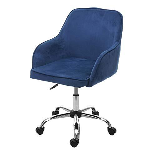Mendler Bürostuhl HWC-F82, Schreibtischstuhl Chefsessel Drehstuhl, Retro Design Samt ~ blau