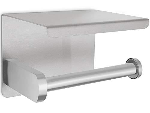 Perfectosan | Toilettenpapierhalter ohne Bohren | Superior-Collection | Modell Theodotus | Klopapierhalter zum Kleben | Handyablage | (Edelstahl gebürstet)