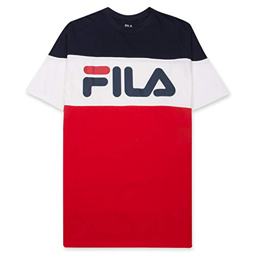 Fila Men's T Shirt for Big and Tall Men - Color Blocking Short Sleeves and Logo Vialli Navy White Red 2XLT