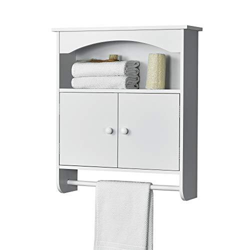 [en.casa] Mueble de Pared para Baño Graz - 61,3 x 53 x 15,5 cm - Armario Colgante - con 2 Puertas y Toallero Barra - Auxiliar de Baño - MDF - Blanco