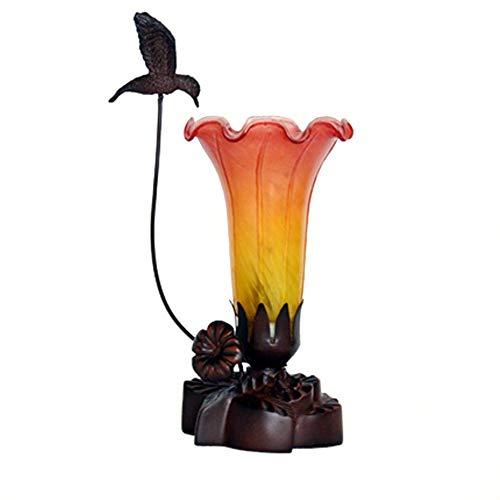 SYyshyin E14 Lily Flower Lámpara de Mesa Estilo Tiffany, H 11 '' Decoración Lámpara de Mesa de Noche soplada a Mano Soporte de lámpara en Relieve Accesorio de iluminación Retro-Naranja
