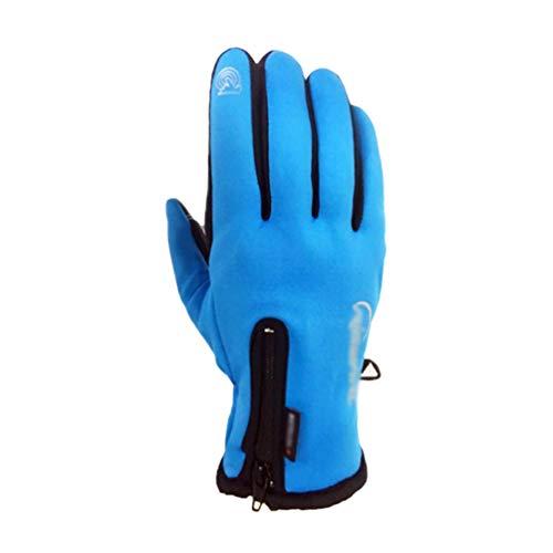 TianBin Unisex Outdoor Gloves Winter Winddicht Warm Touchscreen Handschuhe Fahrradhandschuhe mit Reißverschluss (Blau, Asia L)
