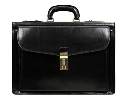 Leather Briefcase for Men with Safe Lock Handmade...