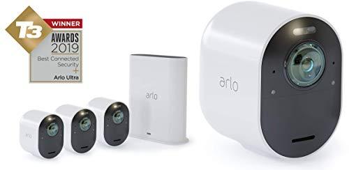 Arlo Ultra Smart Home Bewakingscamera's Set, 4 Draadloze 4K HDR, voor Binnen/Buiten, Nachtzicht, 180 Graden Kijkhoek, 2-Weg Audio, Spotlight, Bewegingsmelder, Wit