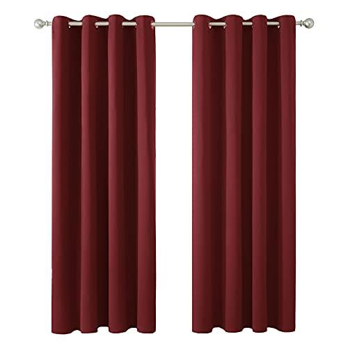 Amazon Brand - Umi 2 Stück Superweiche wärmeisolierende Verdunkelungsvorhang Ringaufhängung Blickdicht Gardinen 175x140 cm (LxB) Rot