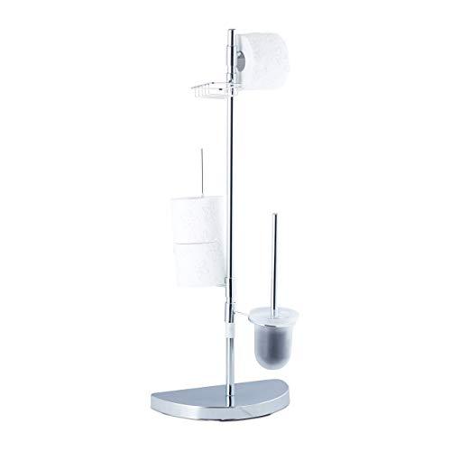 Relaxdays, Chrom Garnitur universal, Rollenhalter, WC-Bürste mit Behälter, Ablage, 360° drehbare Elemente, 86 cm hoch