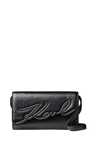 Karl Lagerfeld Damen K/Signature Metallic Schultertasche Schwarz