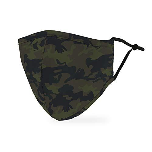 Weddingstar waschbare, Mundschutzmasken aus Stoff. Wiederverwendbar und verstellbar mit Staubfiltertasche - Camouflage