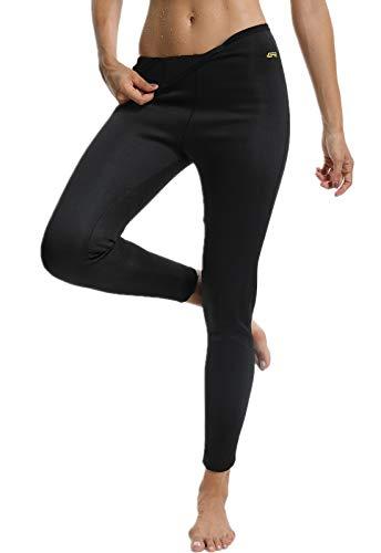 SEASUM Pantaloni Dimagrante Donna Leggins Sauna Neoprene Vita Alta Pantaloncino Termici Sudore Hot Shaper per Allenamento Perdita di Peso Sudorazione Yoga Fitness, A-Nero-Lungo XL