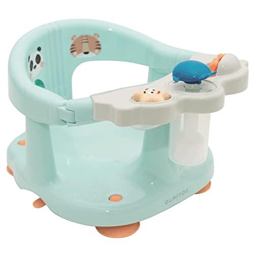 Asiento de baño Panda Tiger de Olmitos - Unisex turquesa - Ergonómico y seguro - con barra para una facil colocación del bebé