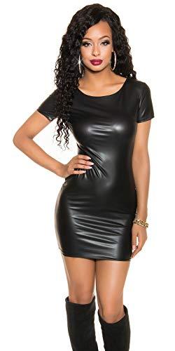 krautwear Damen Kleid Minikleid Kurzarm Kleid Wetlook Lederoptik Reißverschluss 34/36/38 (Kurzarm)