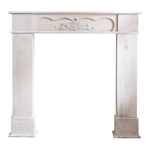 Rebecca Mobili Cheminee Decorative, Encadrement en Bois Blanc, Style Retro, pour Salon, Idees Maison - Dimensions: 99 x 104 x 21 cm (HxLxL) - Art. RE4865