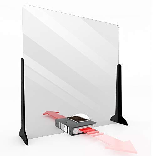 KLEMP Schutzwand Transparent 100x100 - Spuckschutz Thekenaufsatz - Spuck und Niesschutz - Schutz im Nagelstudio - Plexiglasscheibe Spuckschutz - Plexiglas Trennwand Schreibtisch