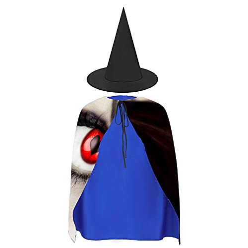 Halloween Cloak Suit Vampire Fangs Black Red (16) Cape With Hat, For Cosplay Festival Costumes Best Gifts For Boys Girls Kids Children