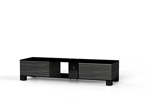 Sonorous MD 9145/B hblk-Meubles AMZ Téléviseur avec Verre Noir (Aluminium Brillant, Corps décor de Bois) Noir