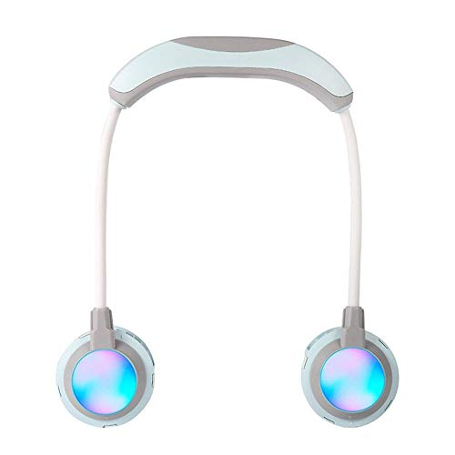 ZZQYY Ventilador USB de Mano Gratis con Luces de Colores portátiles de la Banda del Cuello usable Cuello Colgante Ventilador USB Recargable Ventilador Doble Mini Enfriador de Aire A