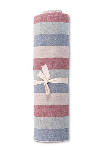 HomeLife - Tela decorativa para sofá a rayas multicolor 180 x 260 – Sábana multiusos de algodón – Granfoulard colcha multicolor para cama individual – Fabricado en Italia [1 plaza]