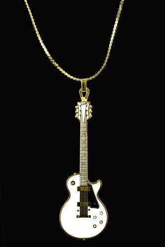 Harmony Jewelry Les Paul Electric Guitar Necklace - Gold and White