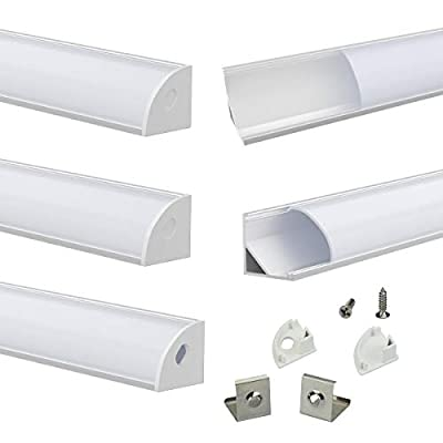 Muzata Aluminum Channel For Led Strip Light With Milky White Curved Diffuser Cover, End Caps, and Mounting Clips, Right Angle Aluminum Profile, V-Shape, 5-Pack 3.3ft/1M V1SW