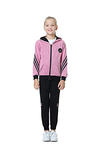 Poywuo Trainingsanzug Jogginganzug Kinder Mädchen 2tlg Sportanzug Sportswear-Jogginganzüge Mädchen Freizeitanzug Bekleidungsset Zweiteiler Outfit-Set(Sweatshirt+Sweathose),Rosenrot,140(EU 134-140)