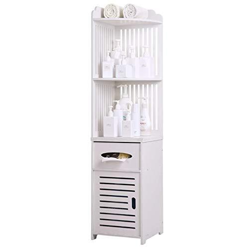 Goodvk Armarios de Baño Cuarto de baño Simple Gabinete Estante Raya Material ecológico Ecológico Impermeable y fácil de Instalar Fácil de Instalar (Color : White, Size : 47.24x11.8x11.8 Inch)