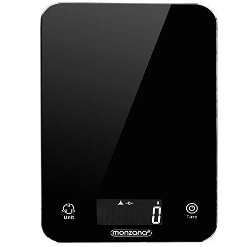 Balance de cuisine 8kg digitale avec écran LCD noir avec éclairage verre trempée balance postale 2 piles lithium incluses plusieurs unités de mesure fonction d'arrêt automatique