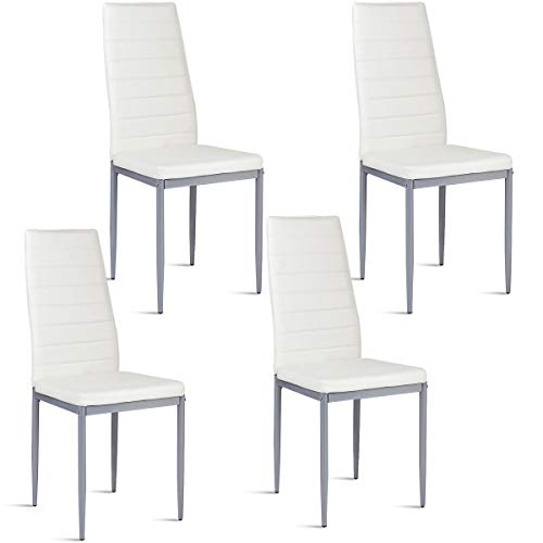 Giantex Set of 4 PU Leather Dining Side Chairs with Padded Seat Foot Cap Protection Stable Frame Heavy Duty Elegant Ergonomically High Back Design for Kitchen Dining Room Home Furniture, White