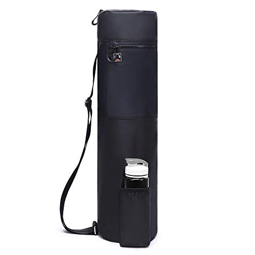 ELENTURE Waterproof Yoga Mat Carry Bag with Storage Pockets and Water Bottle Holder (290T Black)