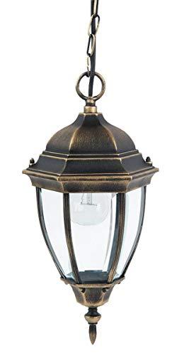 *RABALUX Toronto Außenpendelleuchte, Metall, E27, 100 W, gold antik, 20.5 x 20.5 x 42 cm*