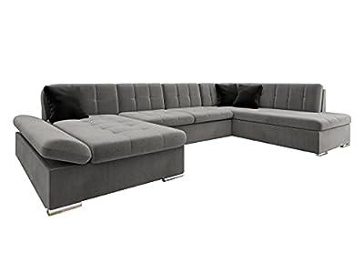 Bergen Design Sofá esquinero con función de dormir y cajón, reposabrazos regulables, en forma de U, sofá de la casa (Manila 16 + Manila 16 + Manila 18, sofá esquinero izquierdo)