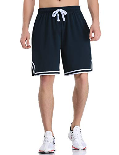 Hawiton Shorts Herren Sportshorts Jogging und Traininghose mit Taschen Kordelzug Streifen Sports Kurze Hose für Fitness, Running, Wandern, Gym, Basketball, Strand