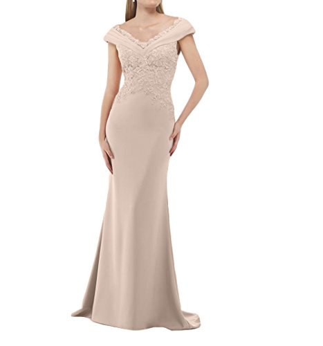 La_mia Brau Langes Chiffon Abendkleider Partykleider Promkleider Abschlussballkleider Etuikleider mit Spitze Applikation-58 Champagner