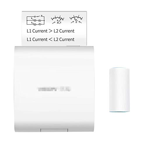 Pocket Printer Pocket Printer 200dpi BT Wireless Thermal Printer With 1 Roll Thermal Paper for Instant Printing Fun (Color : White, Size : 102.5 * 87 * 36.3mm)