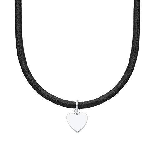 s.Oliver Halskette für Mädchen aus Leder und Edelstahl Herz, längenverstellbar