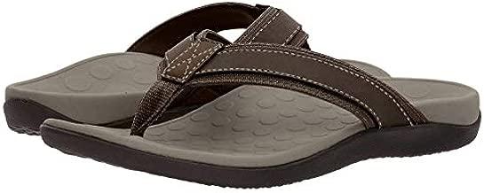Vionic Men's Tide Toe-Post Sandal - Flip Flop with Concealed Orthotic Arch Support Brown 12 Medium US