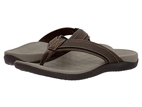 Vionic Men's Tide Toe-Post Sandal - Flip Flop with Concealed Orthotic Arch Support Brown 10 Medium US
