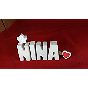 Beton, Steinguss Buchstaben 3 D Deko Schriftzug Namen NINA als Geschenk verpackt! Ein ausgefallenes Geschenk zur Geburt…