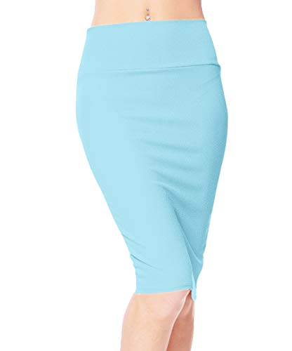 Urban CoCo Women's High Waist Stretch Bodycon Pencil Skirt (M, Light Blue)