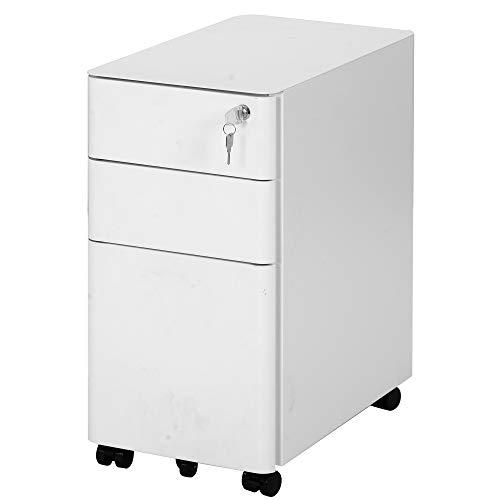 Rollcontainer, Aktenschrank, Abschließbarer Büroschrank mit Schubladen, für Dokumente in DIN A4, Legal- und Letter-Format fürs Büro, Arbeitszimmer