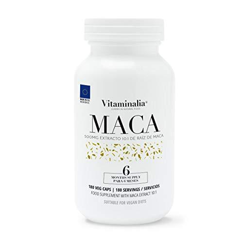 Maca Andina   500mg Extracto de Raíz 10:1 ¡El Mayor del Mercado!   Potenciador Natural de Testosterona + Afrodisíaco + Fertilidad   Calidad de Vitaminalia   Apto Vegetariano   180 cápsulas
