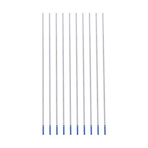 Electrodos de tungsteno de lantano, 10PCS Wl20 Blue Head 2% La-w Electrode TIG, Electrodos de soldadura de tungsteno de alta calidad Electrodo de lantano punta azul con caja de plástico(2.4 * 175mm)