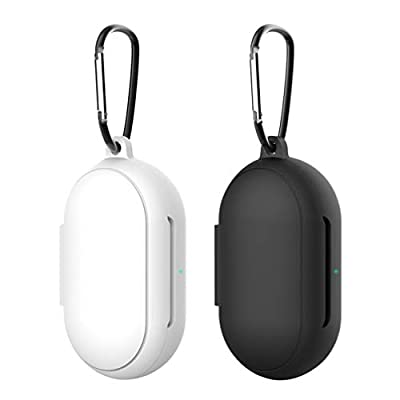 Hemobllo Compatible for Samsung Galaxy Buds Plus Earphone Box Silicone Case Protective Compact Earbuds Case for Women Men 2 Pcs (Black+White)