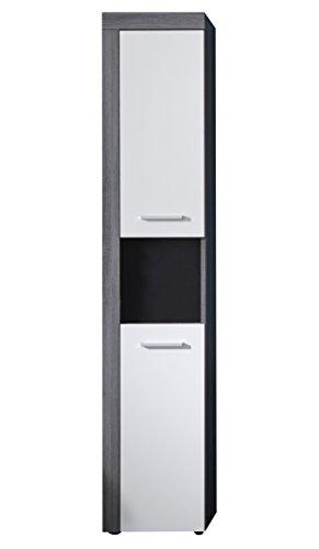 trendteam smart living Badezimmer Hochschrank Schrank Badezimmerschrank Miami, 36 x 184 x 31 cm in Korpus Rauchsilber Dekor, Front Weiß mit offenem Fach und viel Stauraum