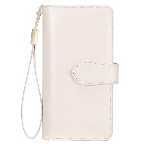 Ladies Leather Purse Large Capacity Women's RFID Blocking Wallet with 26 Credit Card Slots, Women Clutch Long Purse with Zipper Pocket and Wrist Straps (Beige)