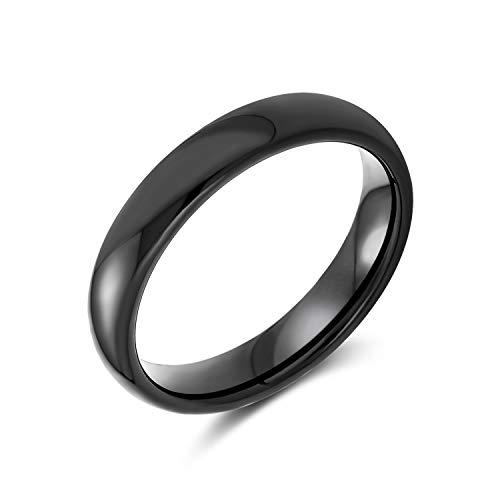Bling Jewelry Semplice Cupola Semplice Coppia Nera Anello da Sposa in Titanio per Uomo per Donna Comfort Fit 4MM