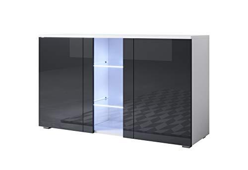 muebles bonitos Buffet modèle Luke A1 (120x72cm) Blanc Noir