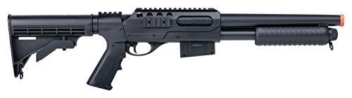 Crosman GameFace ASGM47 VooDoo Spring-Powered Single-Shot Pump Action Airsoft Shotgun With Sling Mounts And Sling, Black , 6.0mm